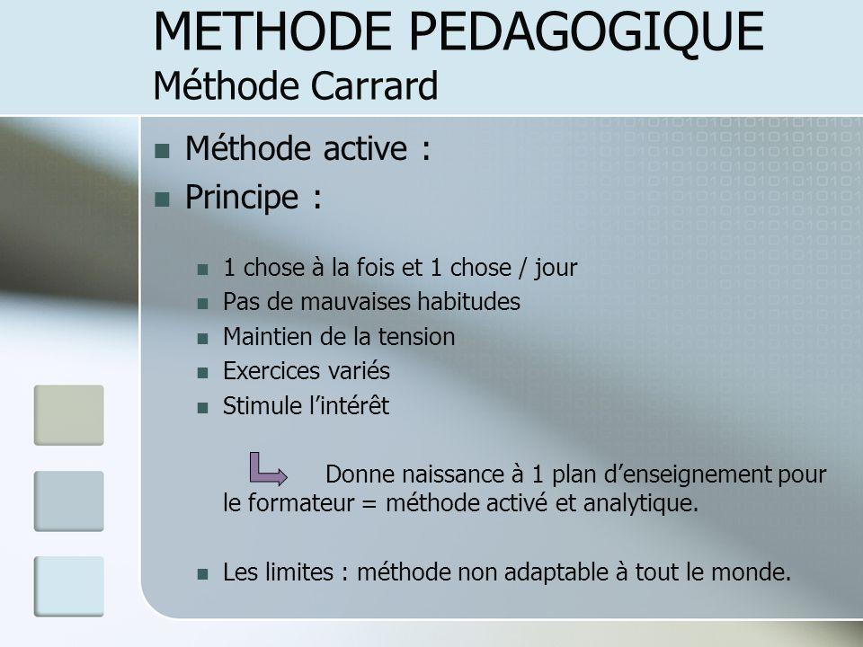 Méthode active : Principe : 1 chose à la fois et 1 chose / jour Pas de mauvaises habitudes Maintien de la tension Exercices variés Stimule lintérêt Do