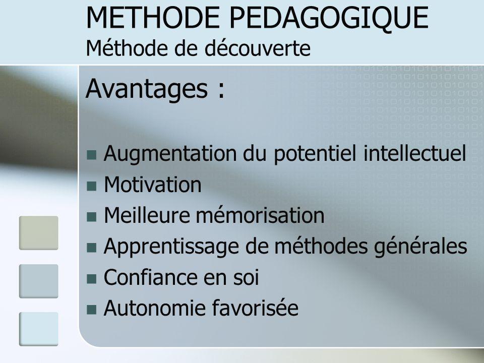 Avantages : Augmentation du potentiel intellectuel Motivation Meilleure mémorisation Apprentissage de méthodes générales Confiance en soi Autonomie fa