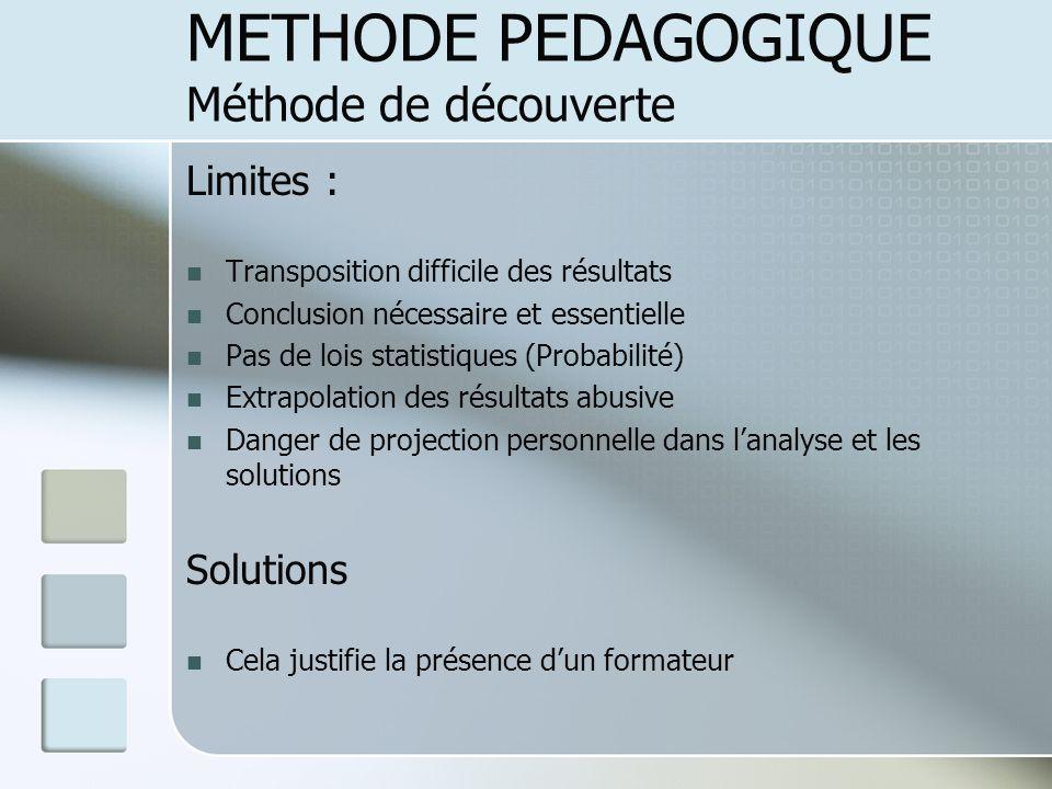 Limites : Transposition difficile des résultats Conclusion nécessaire et essentielle Pas de lois statistiques (Probabilité) Extrapolation des résultat