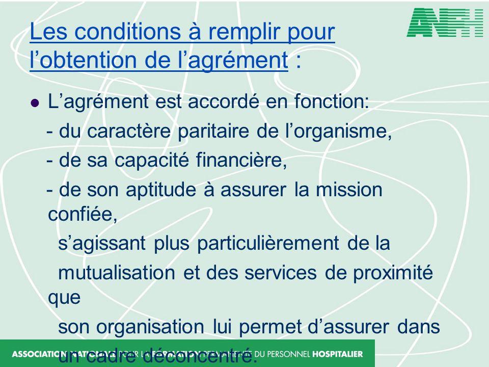 Les conditions à remplir pour lobtention de lagrément : Lagrément est accordé en fonction: - du caractère paritaire de lorganisme, - de sa capacité fi