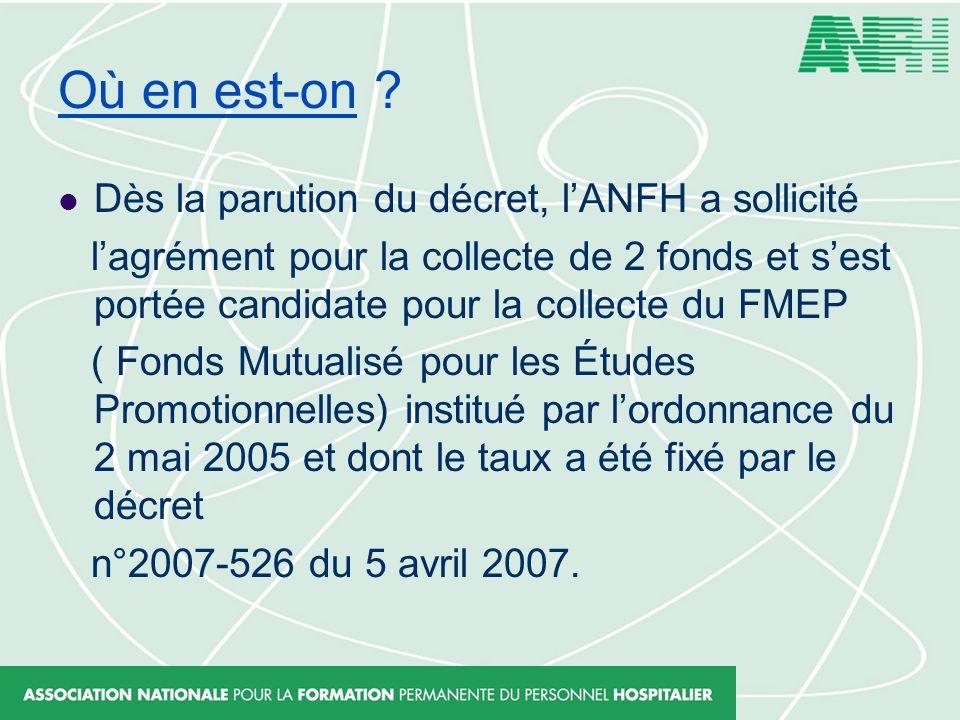 Où en est-on ? Dès la parution du décret, lANFH a sollicité lagrément pour la collecte de 2 fonds et sest portée candidate pour la collecte du FMEP (