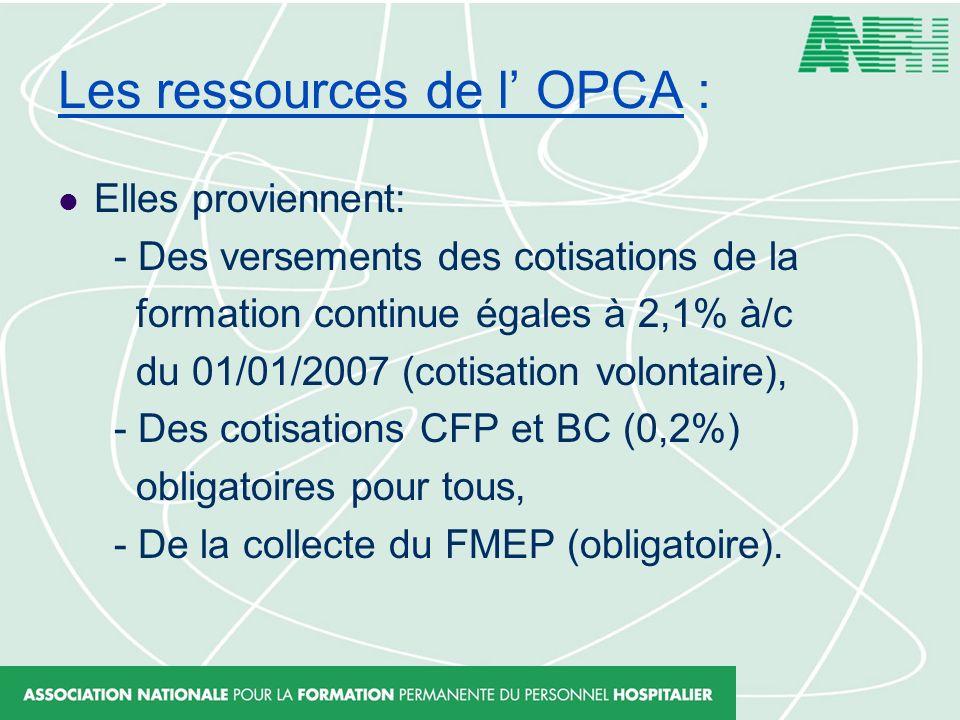 Les ressources de l OPCA : Elles proviennent: - Des versements des cotisations de la formation continue égales à 2,1% à/c du 01/01/2007 (cotisation vo