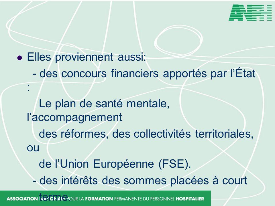 Elles proviennent aussi: - des concours financiers apportés par lÉtat : Le plan de santé mentale, laccompagnement des réformes, des collectivités terr