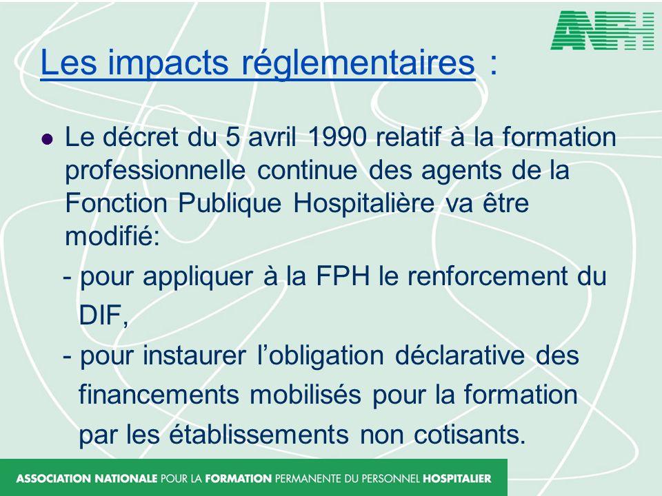 Les impacts réglementaires : Le décret du 5 avril 1990 relatif à la formation professionnelle continue des agents de la Fonction Publique Hospitalière