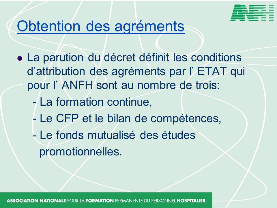 Obtention des agréments La parution du décret définit les conditions dattribution des agréments par l ETAT qui pour l ANFH sont au nombre de trois: -