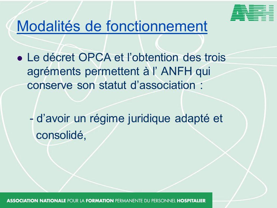 Modalités de fonctionnement Le décret OPCA et lobtention des trois agréments permettent à l ANFH qui conserve son statut dassociation : - davoir un ré