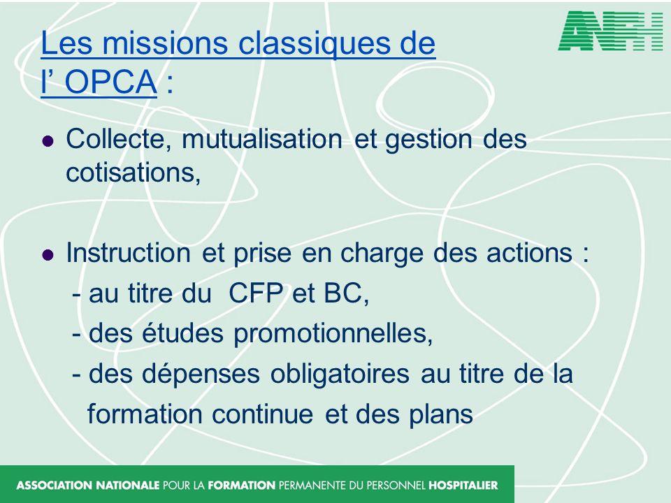 Les missions classiques de l OPCA : Collecte, mutualisation et gestion des cotisations, Instruction et prise en charge des actions : - au titre du CFP