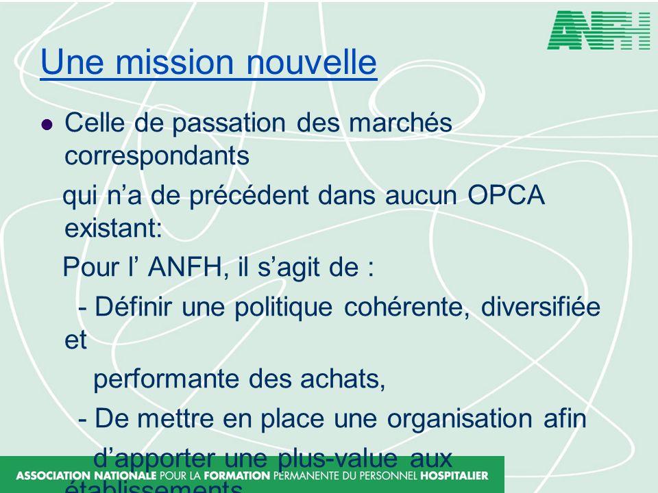Une mission nouvelle Celle de passation des marchés correspondants qui na de précédent dans aucun OPCA existant: Pour l ANFH, il sagit de : - Définir