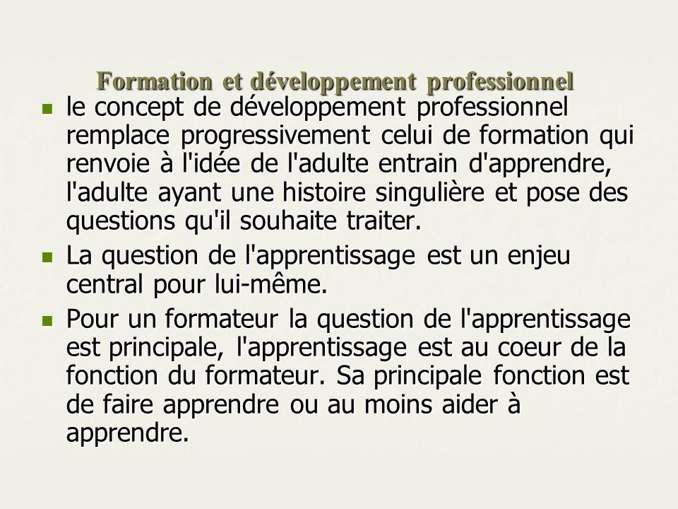 Formation et développement professionnel le concept de développement professionnel remplace progressivement celui de formation qui renvoie à l'idée de