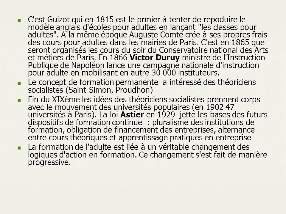 C'est Guizot qui en 1815 est le prmier à tenter de repoduire le modèle anglais d'écoles pour adultes en lançant