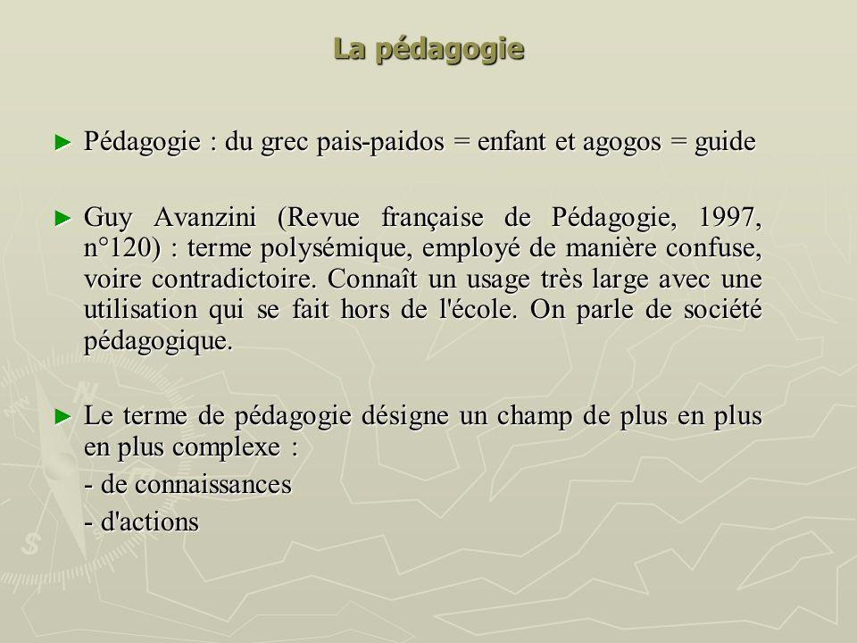 La pédagogie Pédagogie : du grec pais-paidos = enfant et agogos = guide Pédagogie : du grec pais-paidos = enfant et agogos = guide Guy Avanzini (Revue