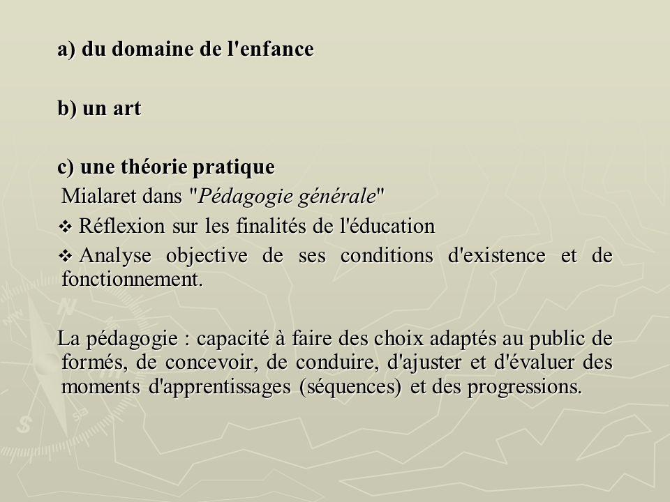 a) du domaine de l'enfance b) un art c) une théorie pratique Mialaret dans