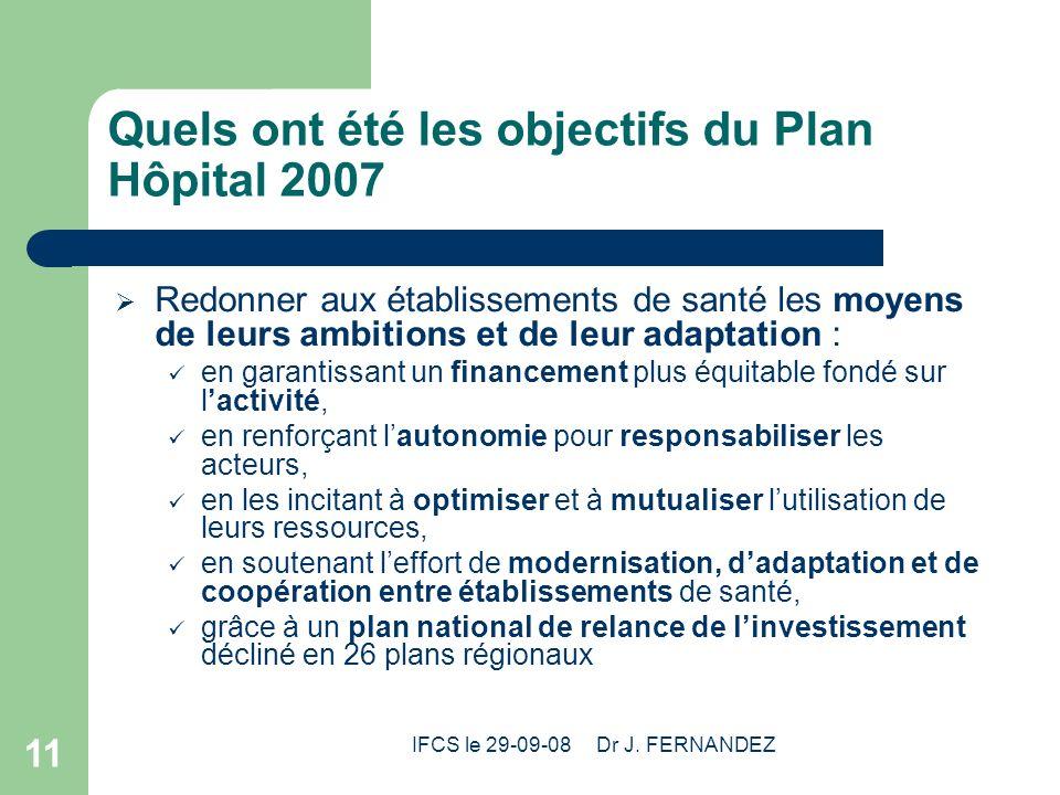 IFCS le 29-09-08 Dr J. FERNANDEZ 11 Quels ont été les objectifs du Plan Hôpital 2007 Redonner aux établissements de santé les moyens de leurs ambition