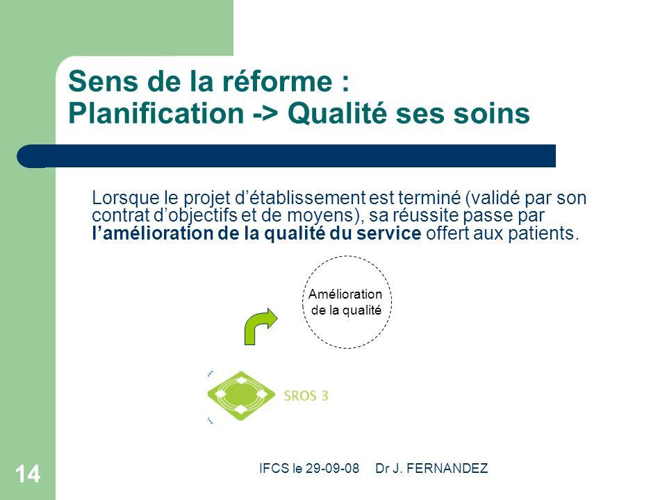 IFCS le 29-09-08 Dr J. FERNANDEZ 14 Sens de la réforme : Planification -> Qualité ses soins Lorsque le projet détablissement est terminé (validé par s