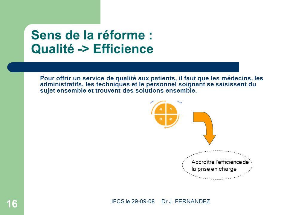 IFCS le 29-09-08 Dr J. FERNANDEZ 16 Sens de la réforme : Qualité -> Efficience Pour offrir un service de qualité aux patients, il faut que les médecin