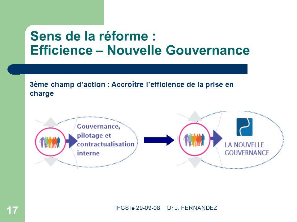 IFCS le 29-09-08 Dr J. FERNANDEZ 17 Sens de la réforme : Efficience – Nouvelle Gouvernance 3ème champ daction : Accroître lefficience de la prise en c