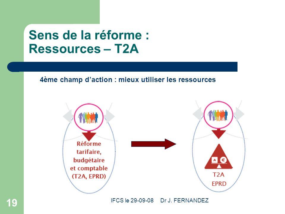 IFCS le 29-09-08 Dr J. FERNANDEZ 19 Sens de la réforme : Ressources – T2A 4ème champ daction : mieux utiliser les ressources