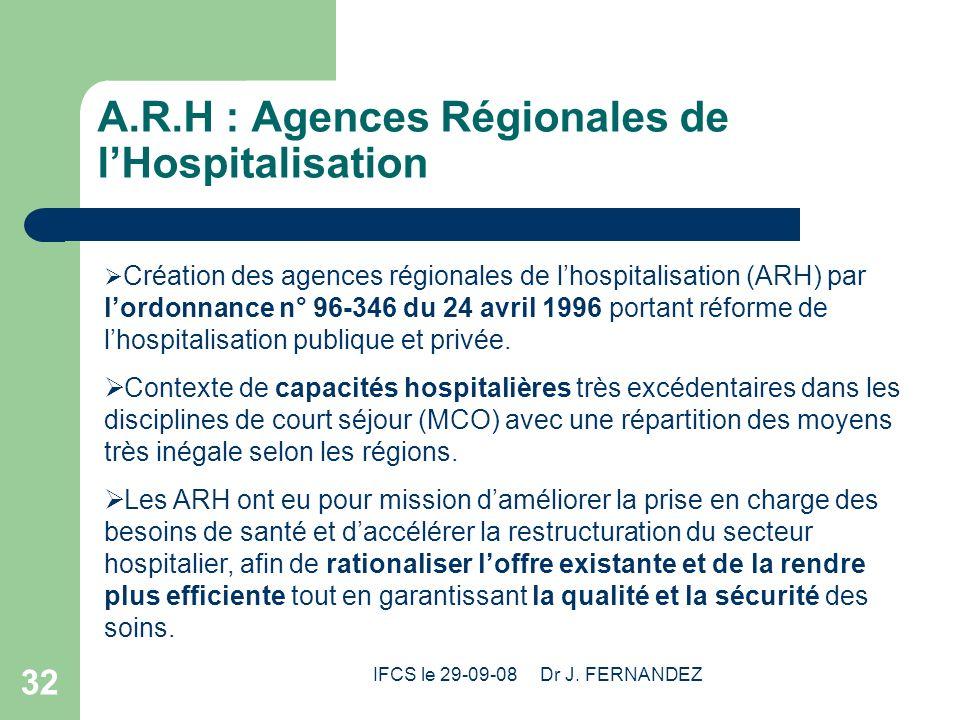 IFCS le 29-09-08 Dr J. FERNANDEZ 32 A.R.H : Agences Régionales de lHospitalisation Création des agences régionales de lhospitalisation (ARH) par lordo