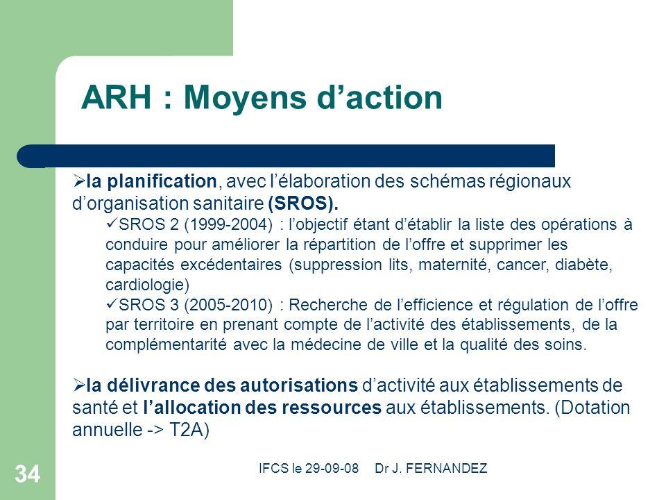 IFCS le 29-09-08 Dr J. FERNANDEZ 34 ARH : Moyens daction la planification, avec lélaboration des schémas régionaux dorganisation sanitaire (SROS). SRO