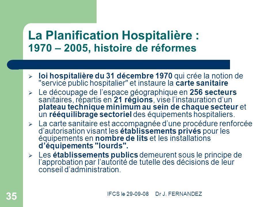 IFCS le 29-09-08 Dr J. FERNANDEZ 35 La Planification Hospitalière : 1970 – 2005, histoire de réformes loi hospitalière du 31 décembre 1970 qui crée la