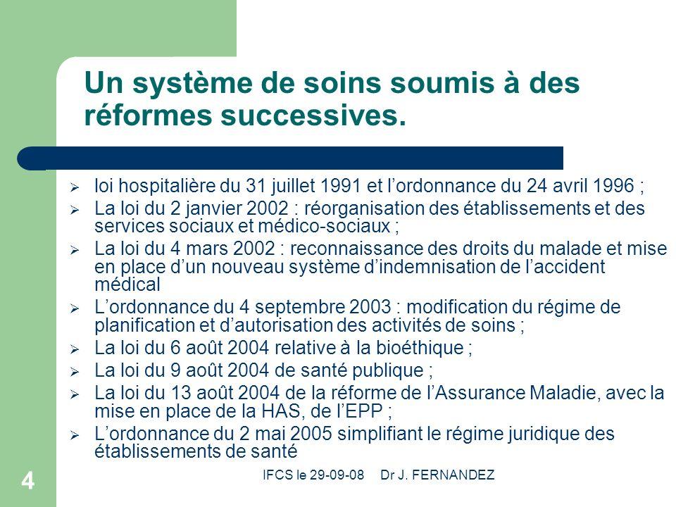 IFCS le 29-09-08 Dr J. FERNANDEZ 4 Un système de soins soumis à des réformes successives. loi hospitalière du 31 juillet 1991 et lordonnance du 24 avr