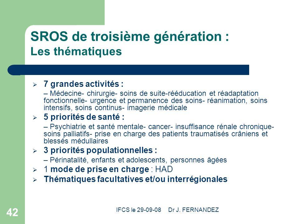 IFCS le 29-09-08 Dr J. FERNANDEZ 42 SROS de troisième génération : Les thématiques 7 grandes activités : – Médecine- chirurgie- soins de suite-rééduca