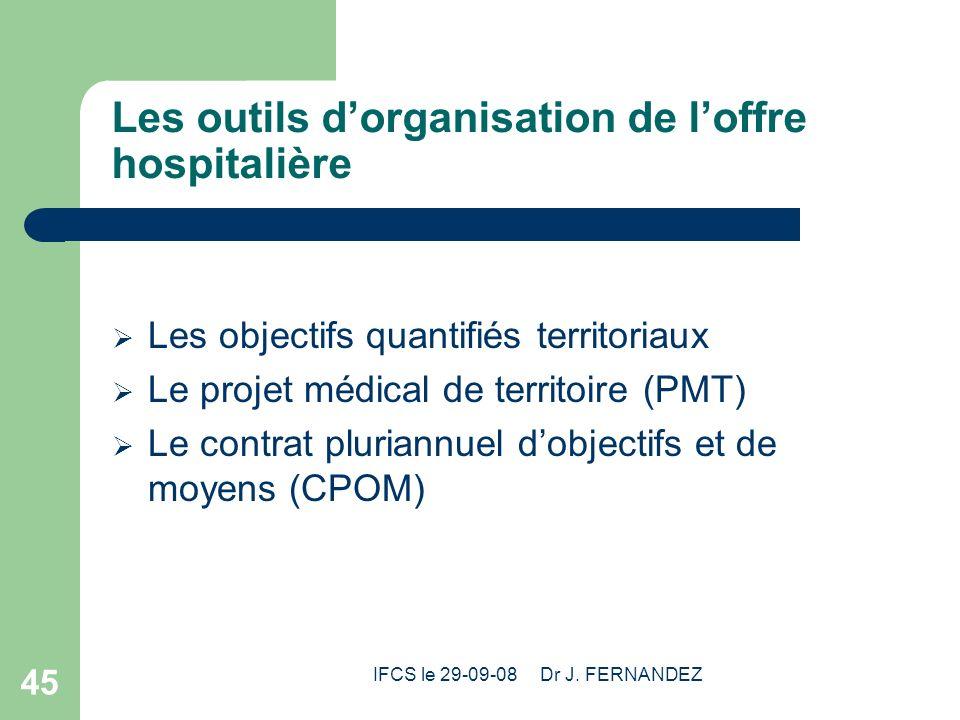 IFCS le 29-09-08 Dr J. FERNANDEZ 45 Les outils dorganisation de loffre hospitalière Les objectifs quantifiés territoriaux Le projet médical de territo