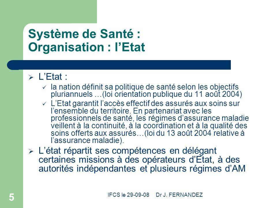 IFCS le 29-09-08 Dr J. FERNANDEZ 5 Système de Santé : Organisation : lEtat LEtat : la nation définit sa politique de santé selon les objectifs plurian