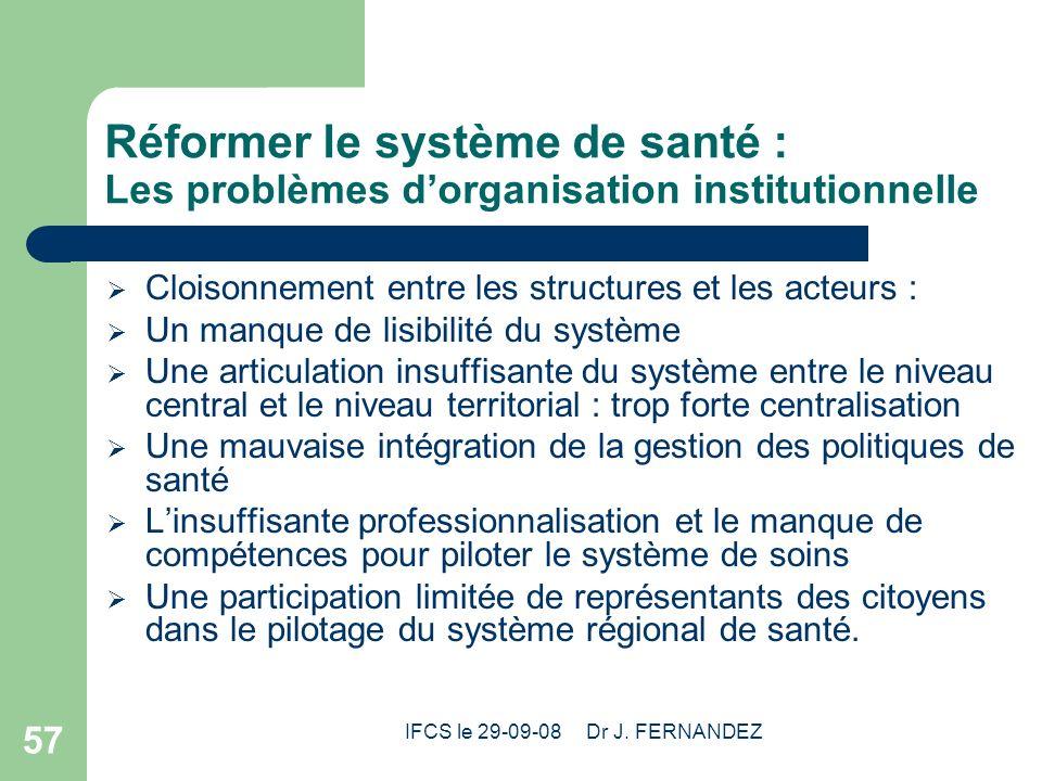 IFCS le 29-09-08 Dr J. FERNANDEZ 57 Réformer le système de santé : Les problèmes dorganisation institutionnelle Cloisonnement entre les structures et
