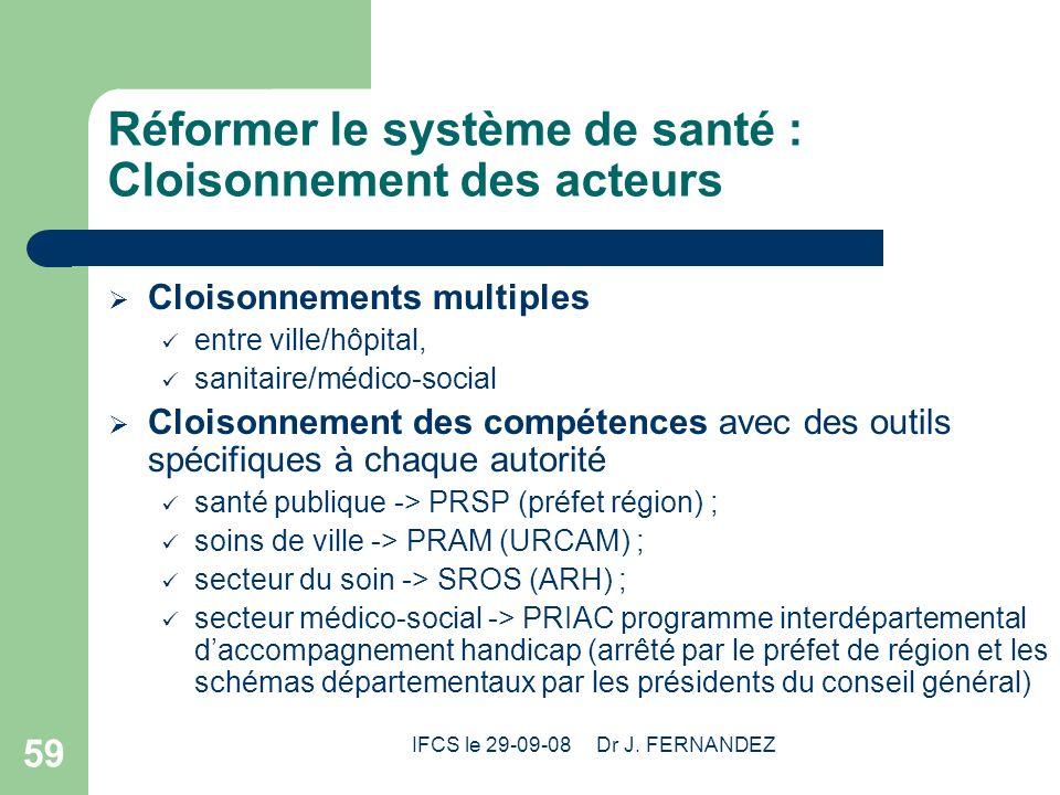 IFCS le 29-09-08 Dr J. FERNANDEZ 59 Réformer le système de santé : Cloisonnement des acteurs Cloisonnements multiples entre ville/hôpital, sanitaire/m