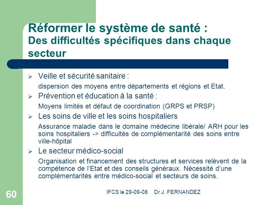 IFCS le 29-09-08 Dr J. FERNANDEZ 60 Réformer le système de santé : Des difficultés spécifiques dans chaque secteur Veille et sécurité sanitaire : disp