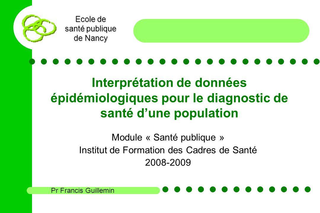 Ecole de santé publique de Nancy Interprétation de données épidémiologiques pour le diagnostic de santé dune population Module « Santé publique » Inst