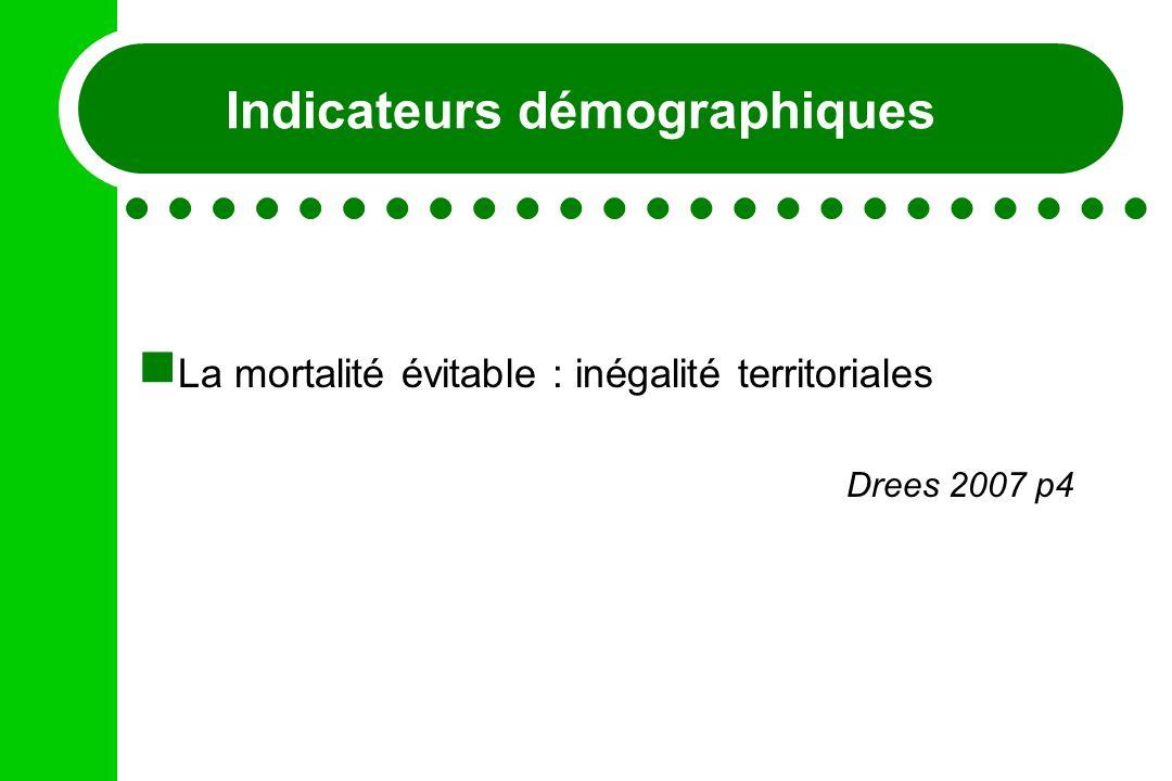 Indicateurs démographiques La mortalité évitable : inégalité territoriales Drees 2007 p4