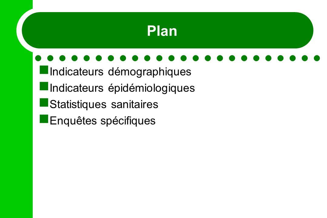 Plan Indicateurs démographiques Indicateurs épidémiologiques Statistiques sanitaires Enquêtes spécifiques
