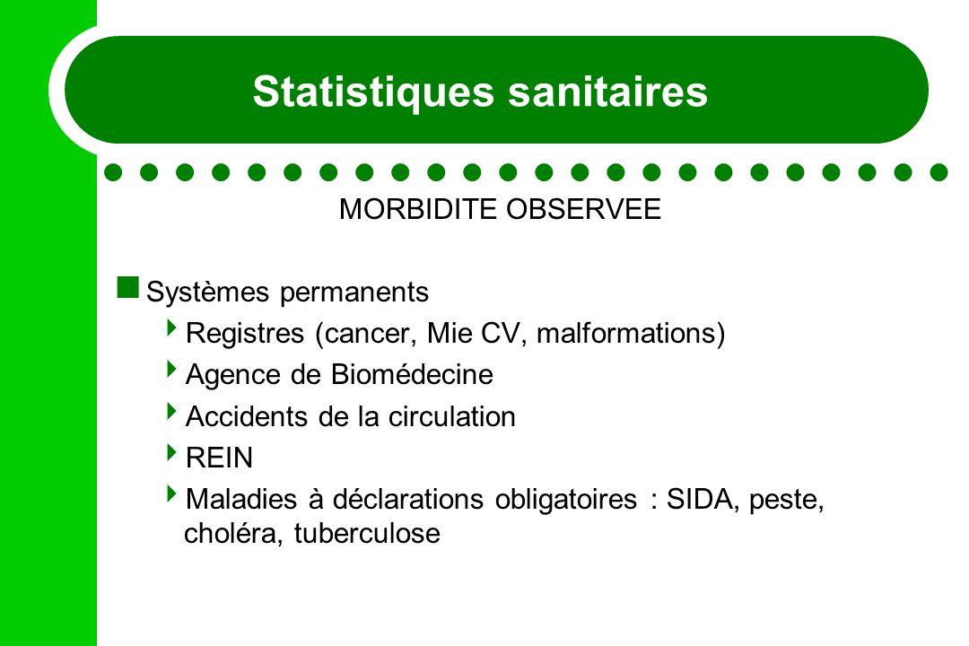 Statistiques sanitaires MORBIDITE OBSERVEE Systèmes permanents Registres (cancer, Mie CV, malformations) Agence de Biomédecine Accidents de la circula