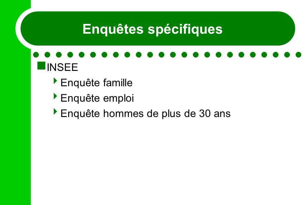 Enquêtes spécifiques INSEE Enquête famille Enquête emploi Enquête hommes de plus de 30 ans