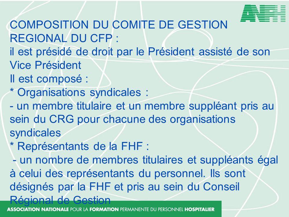 COMPOSITION DU COMITE DE GESTION REGIONAL DU CFP : il est présidé de droit par le Président assisté de son Vice Président Il est composé : * Organisat
