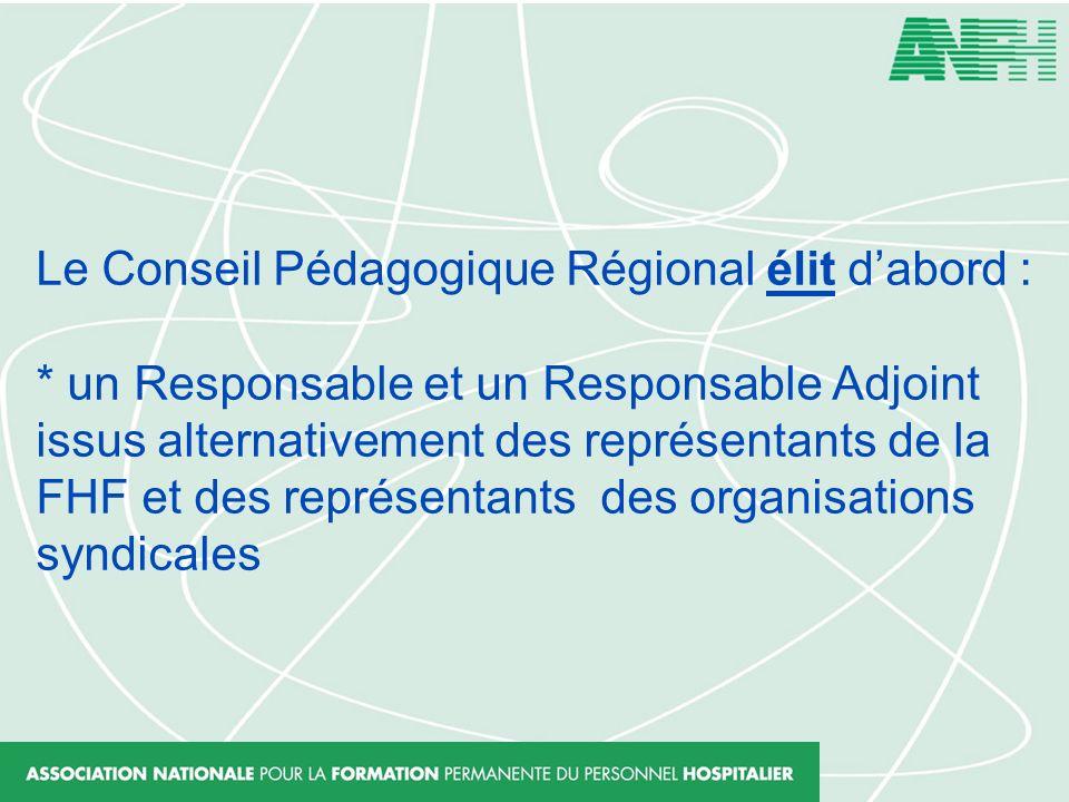 Le Conseil Pédagogique Régional élit dabord : * un Responsable et un Responsable Adjoint issus alternativement des représentants de la FHF et des repr