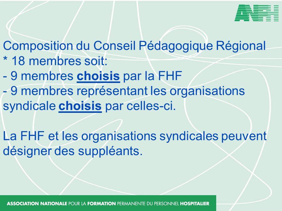 Composition du Conseil Pédagogique Régional * 18 membres soit: - 9 membres choisis par la FHF - 9 membres représentant les organisations syndicale cho