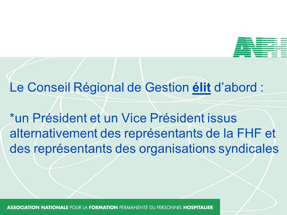Le Conseil Régional de Gestion élit dabord : *un Président et un Vice Président issus alternativement des représentants de la FHF et des représentants