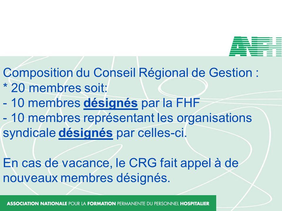 Composition du Conseil Régional de Gestion : * 20 membres soit: - 10 membres désignés par la FHF - 10 membres représentant les organisations syndicale