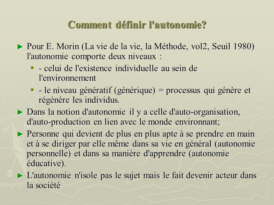 Comment définir l'autonomie? Pour E. Morin (La vie de la vie, la Méthode, vol2, Seuil 1980) l'autonomie comporte deux niveaux : Pour E. Morin (La vie