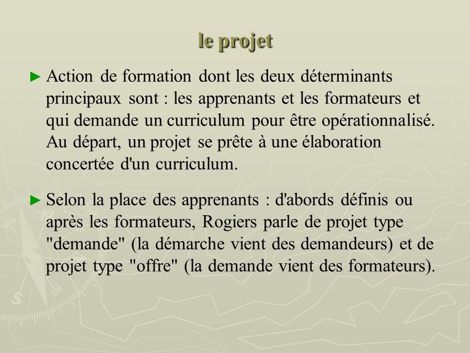 le projet Action de formation dont les deux déterminants principaux sont : les apprenants et les formateurs et qui demande un curriculum pour être opérationnalisé.