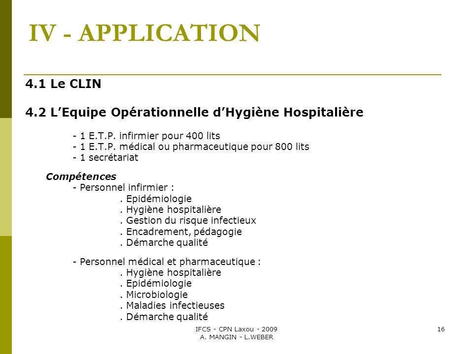 IFCS - CPN Laxou - 2009 A. MANGIN - L.WEBER 16 IV - APPLICATION 4.1 Le CLIN 4.2 LEquipe Opérationnelle dHygiène Hospitalière - 1 E.T.P. infirmier pour