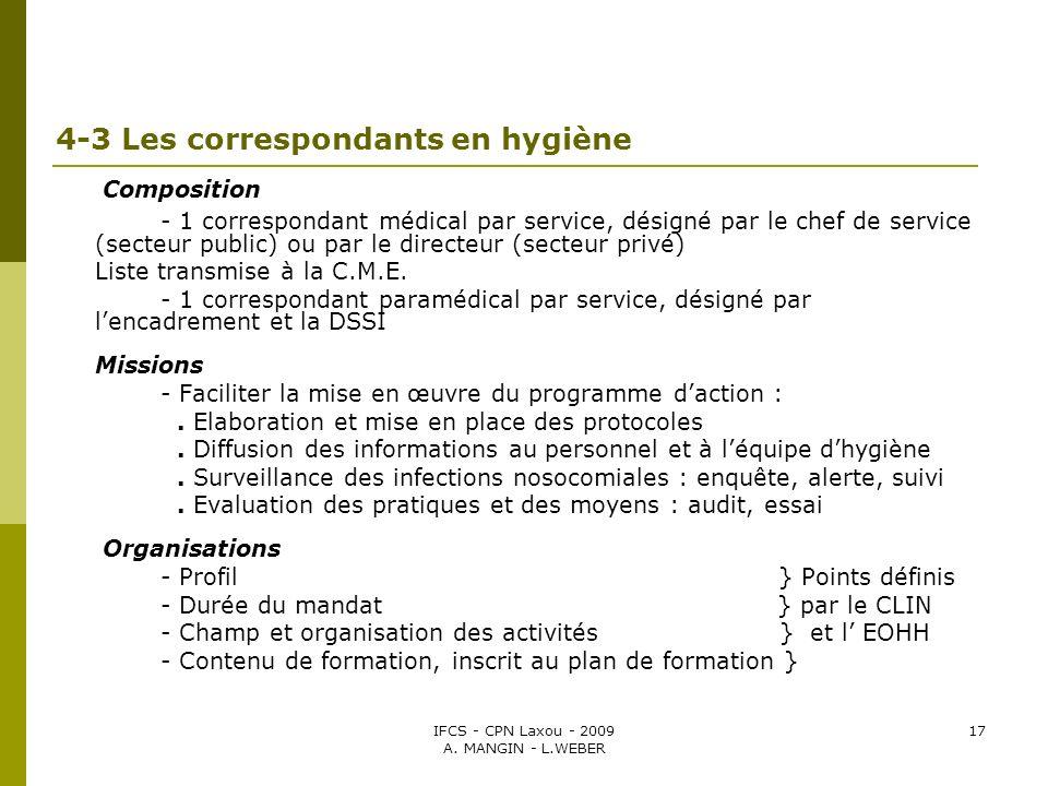 IFCS - CPN Laxou - 2009 A. MANGIN - L.WEBER 17 4-3 Les correspondants en hygiène Composition - 1 correspondant médical par service, désigné par le che