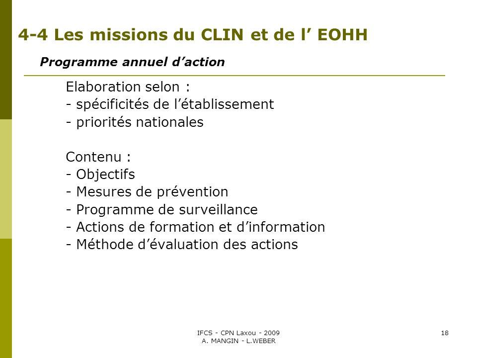 IFCS - CPN Laxou - 2009 A. MANGIN - L.WEBER 18 4-4 Les missions du CLIN et de l EOHH Programme annuel daction Elaboration selon : - spécificités de lé