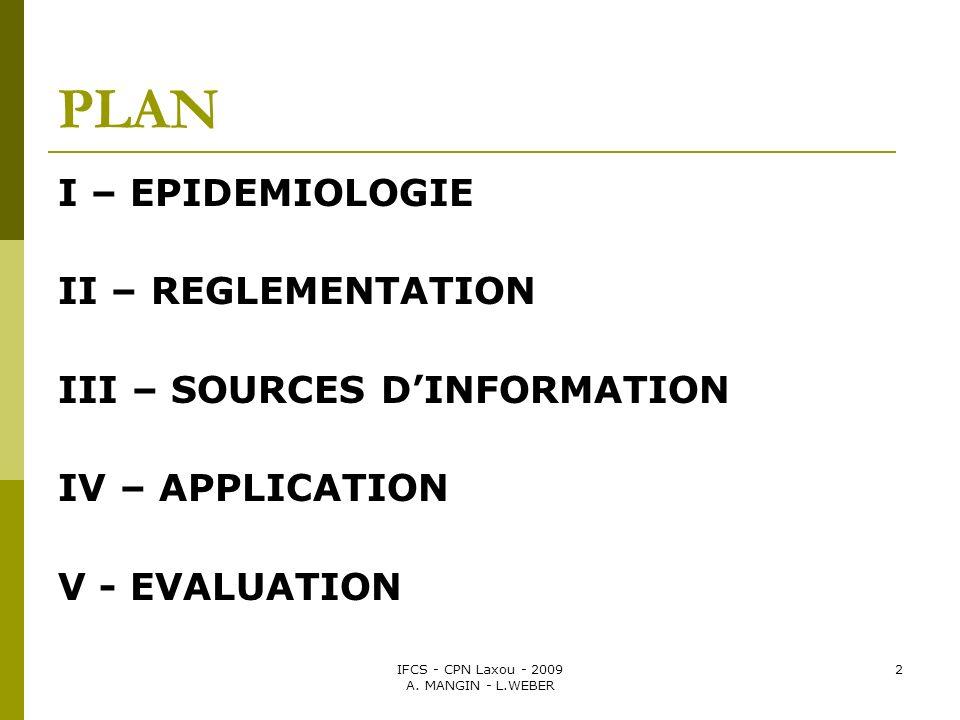 IFCS - CPN Laxou - 2009 A. MANGIN - L.WEBER 2 PLAN I – EPIDEMIOLOGIE II – REGLEMENTATION III – SOURCES DINFORMATION IV – APPLICATION V - EVALUATION
