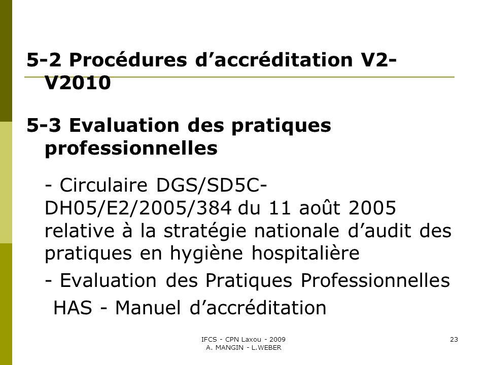 IFCS - CPN Laxou - 2009 A. MANGIN - L.WEBER 23 5-2 Procédures daccréditation V2- V2010 5-3 Evaluation des pratiques professionnelles - Circulaire DGS/