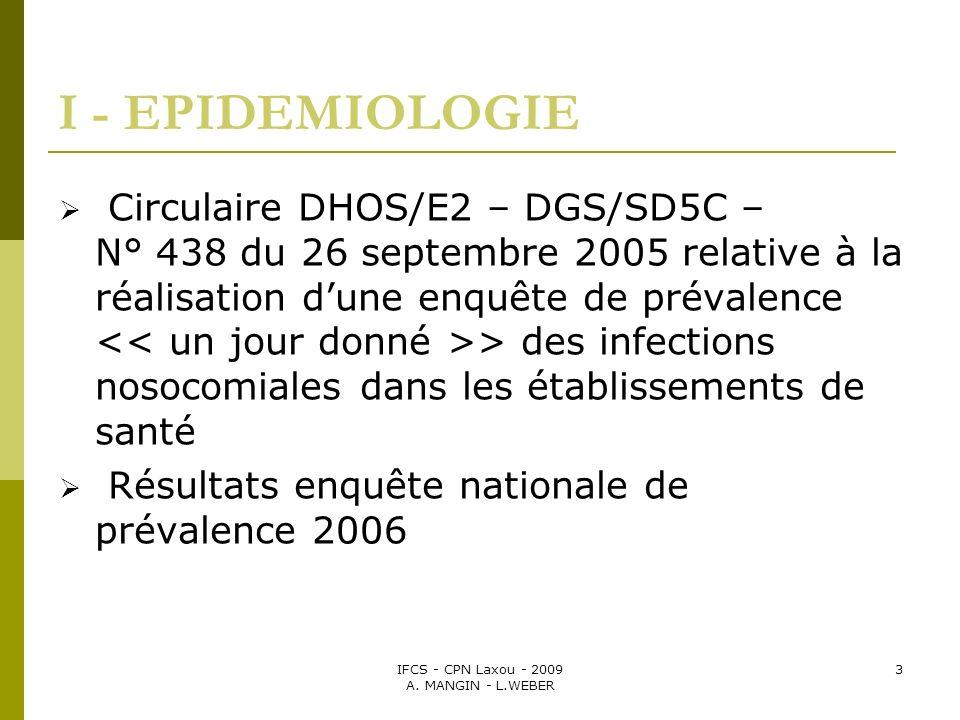 IFCS - CPN Laxou - 2009 A. MANGIN - L.WEBER 3 I - EPIDEMIOLOGIE Circulaire DHOS/E2 – DGS/SD5C – N° 438 du 26 septembre 2005 relative à la réalisation