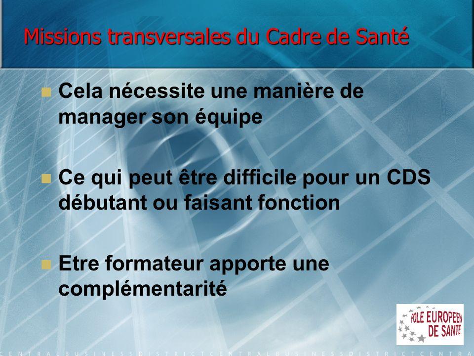 Missions transversales du Cadre de Santé Cela nécessite une manière de manager son équipe Ce qui peut être difficile pour un CDS débutant ou faisant f